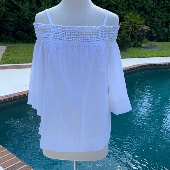 Bass off the shoulder white 3/4 sleeve top
